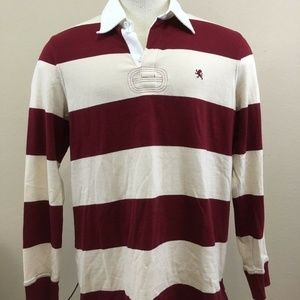 Express Maroon Cream Stripe Collar Long Sleeve Men